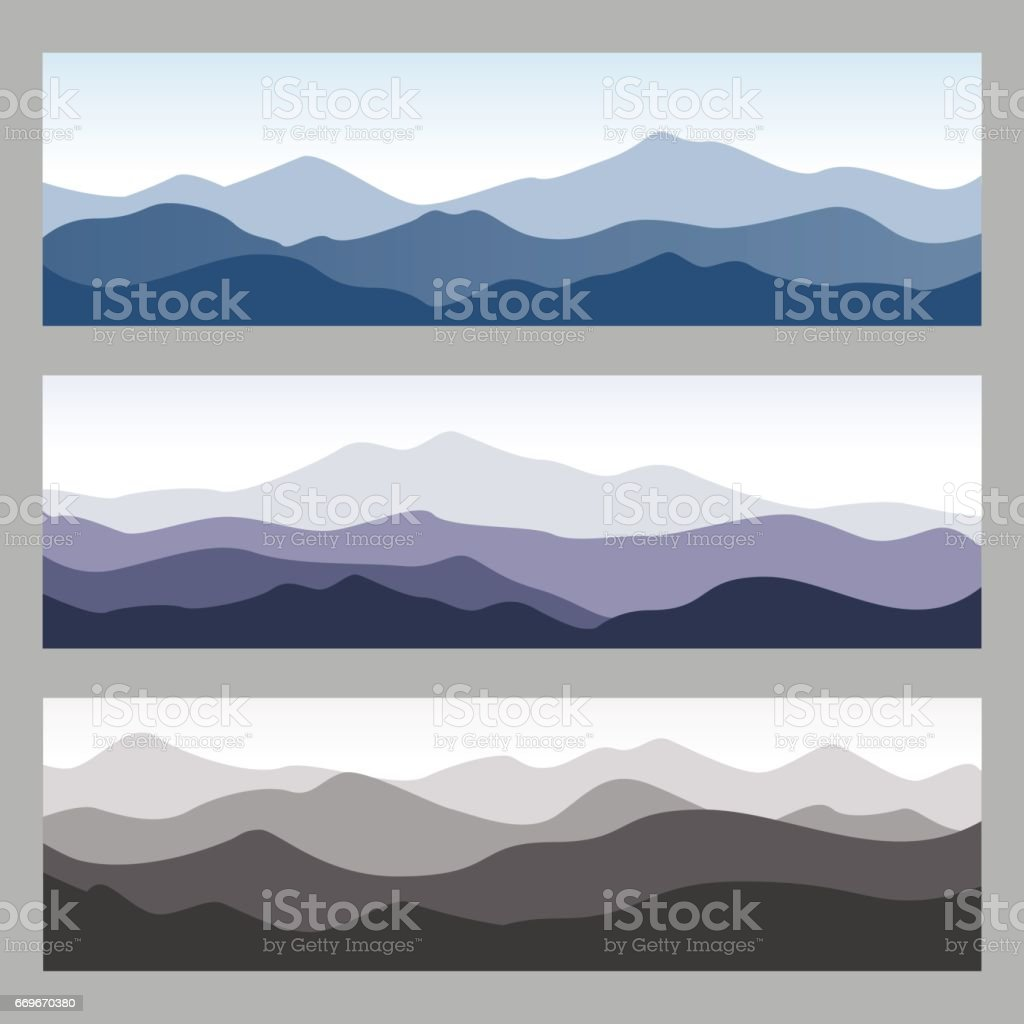 Horizontal mountain ridges. Set of nature backgrounds in different colors. vector art illustration
