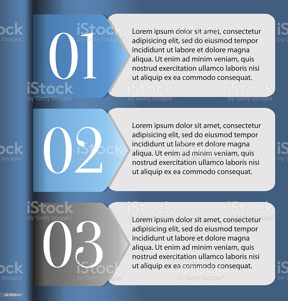 Horizontal One, Two, Three progress labels vector art illustration