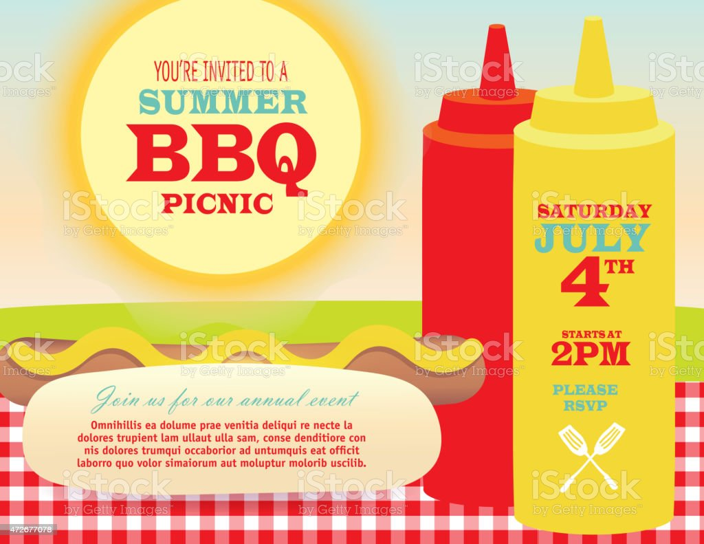 Horizontal picnic BBQ invitation template ketchup and mustard bottles hotdog vector art illustration