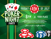 Horizontal Poker party and Casino game night invitation design template