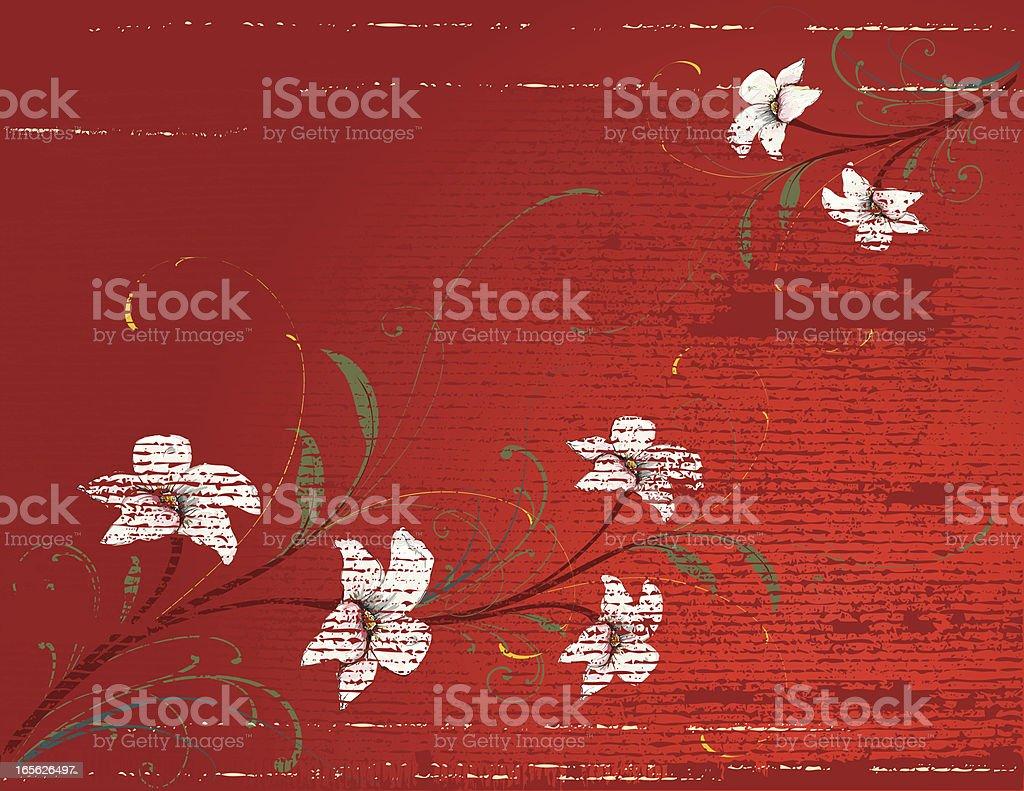 Horizontal Red Grunge Flowers vector art illustration