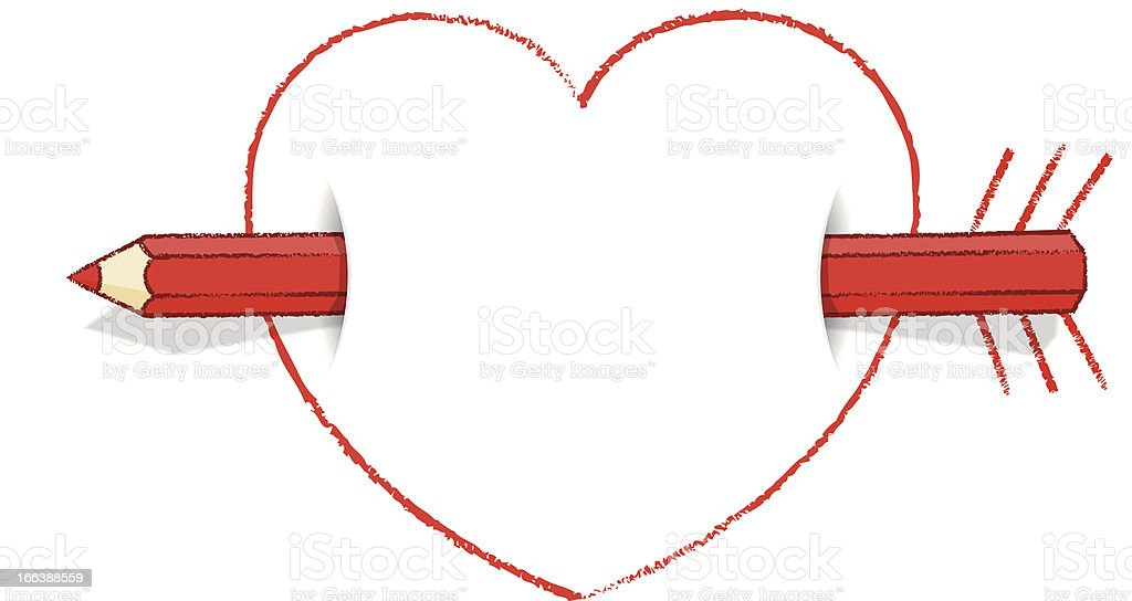 Horizontal Red Pencil Through Heart with Arrow and Feathers royalty-free stock vector art
