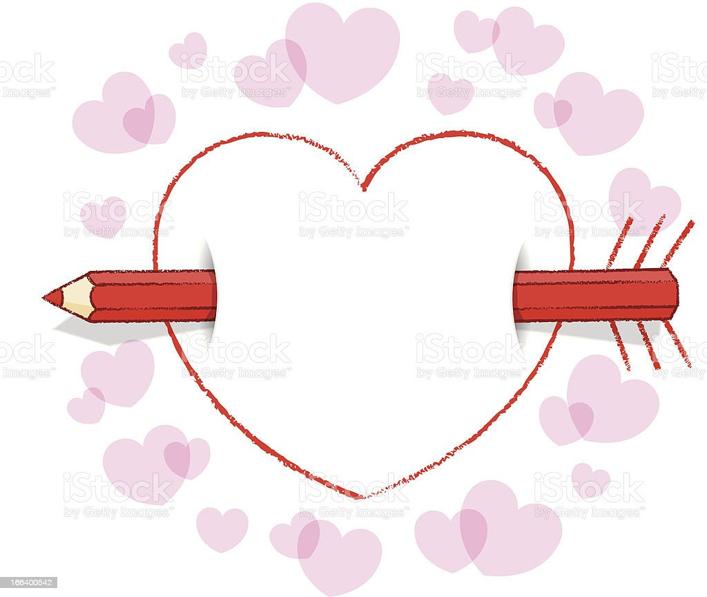 Horizontal Red Pencil Through Heart with Arrow plus Pink Border royalty-free stock vector art