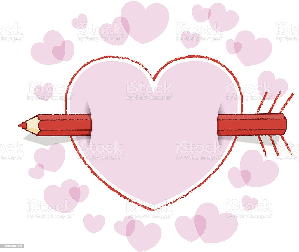 Horizontal Red Pencil Through Pink Heart Bordder with Arrow Feathers royalty-free stock vector art