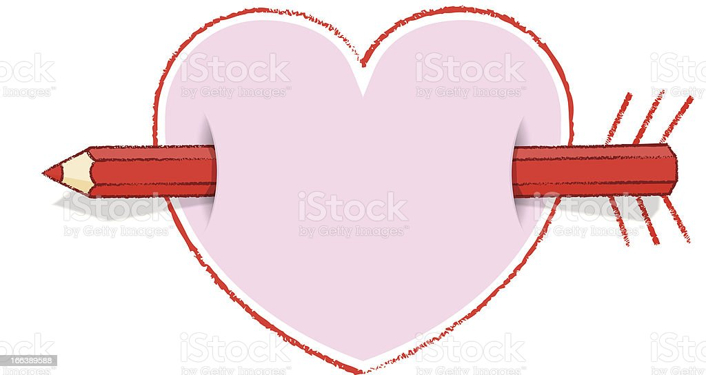 Horizontal Red Pencil Through Pink Heart with Arrow and Feathers royalty-free stock vector art