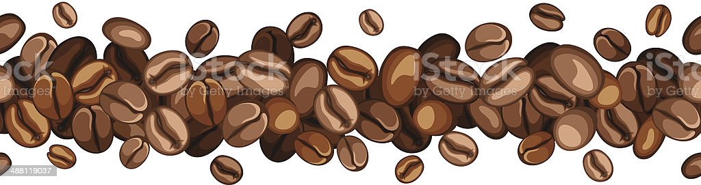 Horizontal seamless background with coffee beans. Vector illustration. vector art illustration