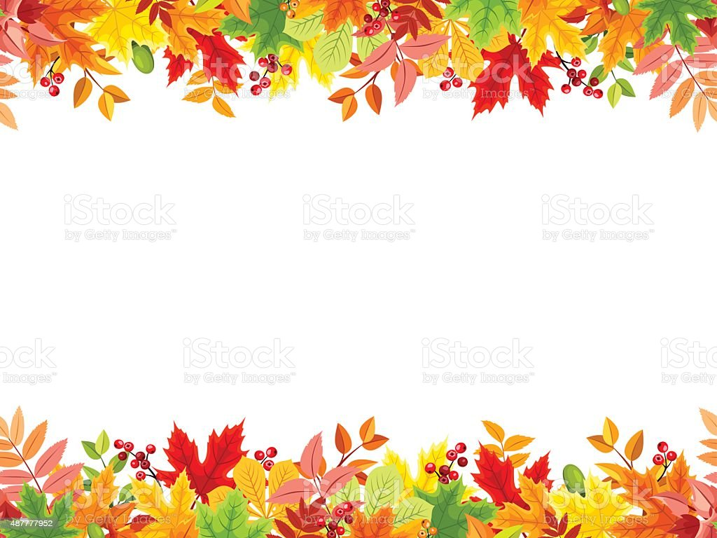 Horizontal seamless background with colorful autumn leaves. Vector illustration. vector art illustration