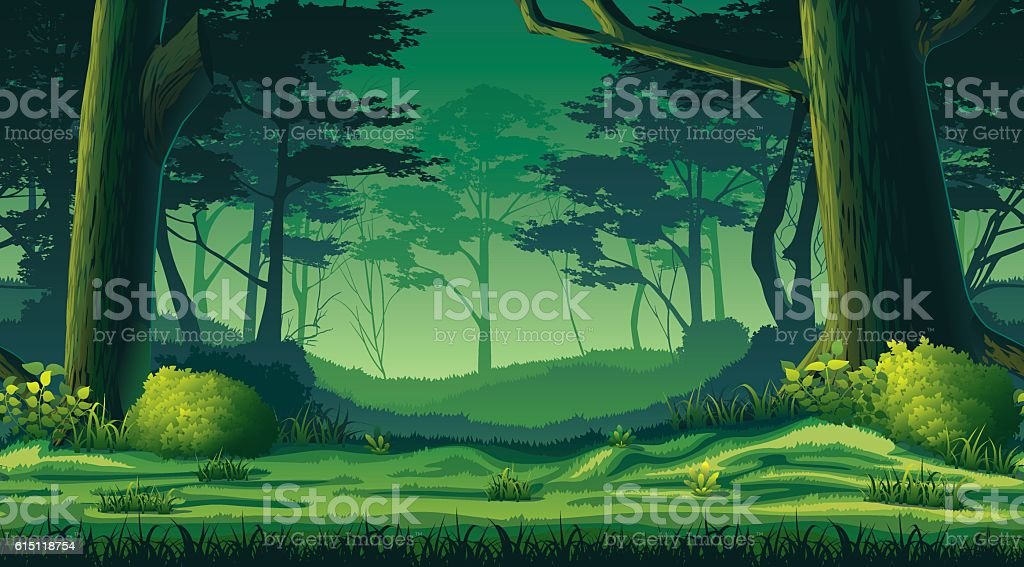 Horizontal seamless background with forest vector art illustration