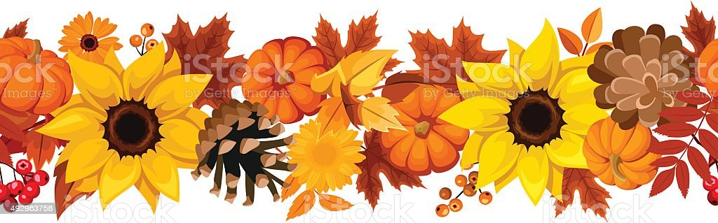 Horizontal seamless background with pumpkins, sunflowers and autumn leaves. Vector. vector art illustration