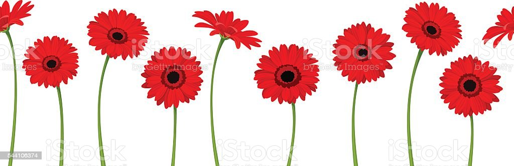 Horizontal seamless background with red gerbera flowers. Vector illustration. vector art illustration