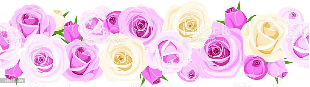 Horizontal seamless background with roses. Vector illustration. royalty-free stock vector art
