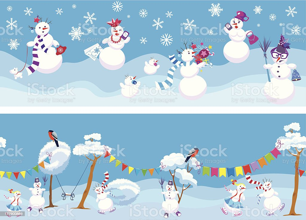Horizontal seamless backgrounds with cute snowmen royalty-free stock vector art