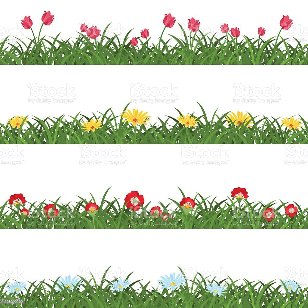 Horizontal Seamless Floral Borders vector art illustration