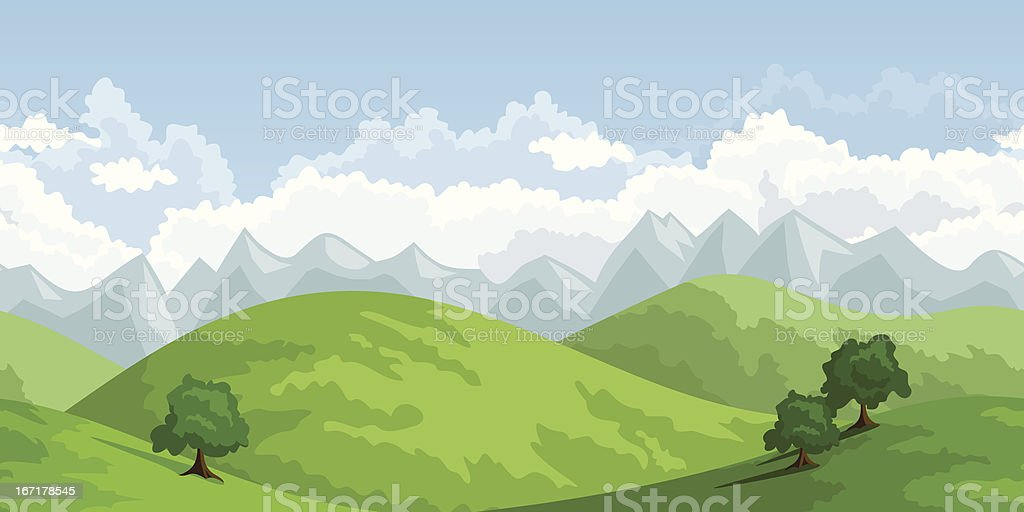 Horizontal seamless summer landscape. Vector illustration. royalty-free stock vector art