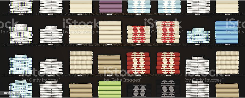 Horizontal Store Shelves with Clothes vector art illustration