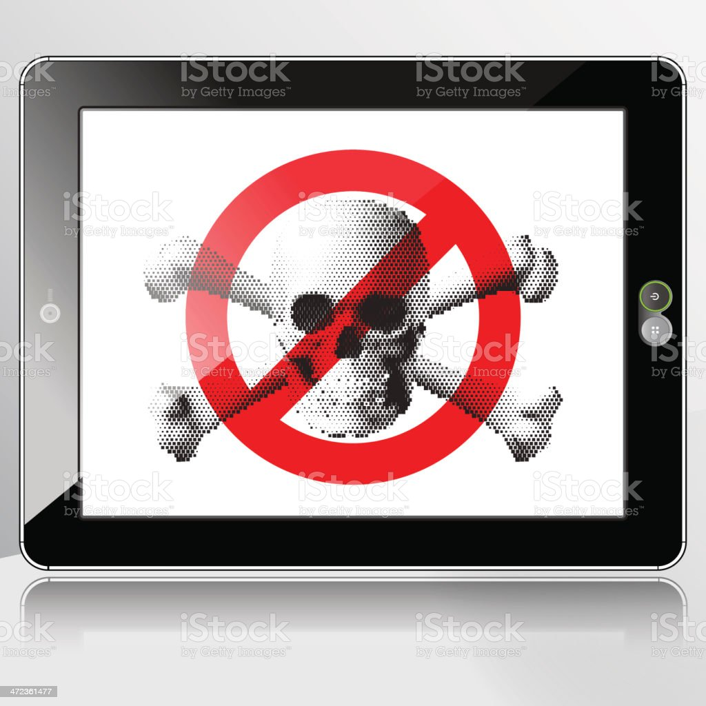 Horizontal Tablet PC - No Pirate Content allowed royalty-free stock vector art