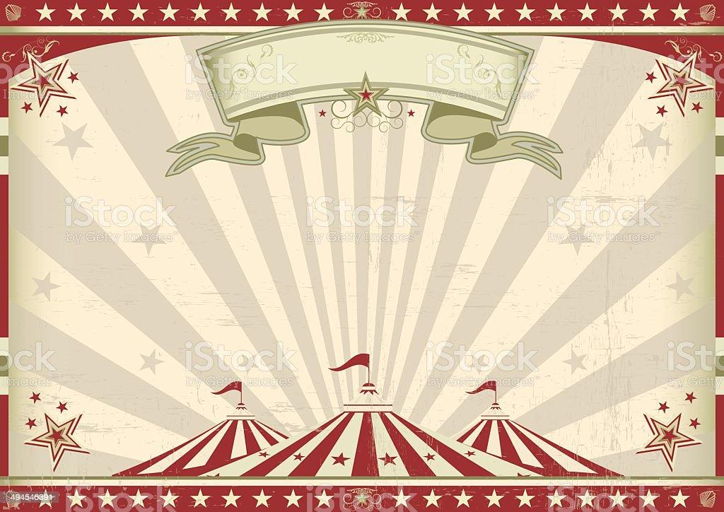 Horizontal vintage circus vector art illustration