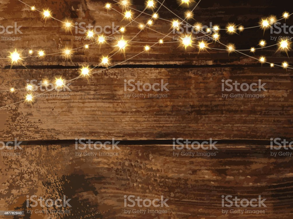 Horizontal wooden background with string lights and jars vector art illustration