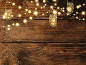 Horizontal Blank invitation design template with string lights and jars