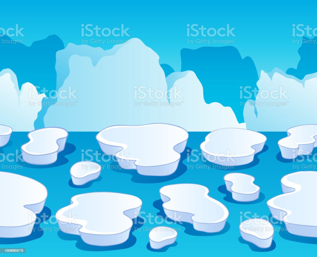 Horizontally seamless sea ice 1 vector art illustration