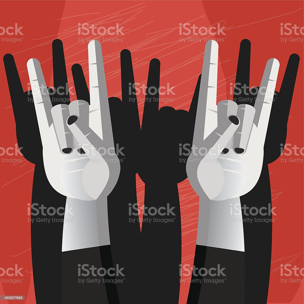 Horn hand sign of rock and metal music royalty-free stock vector art