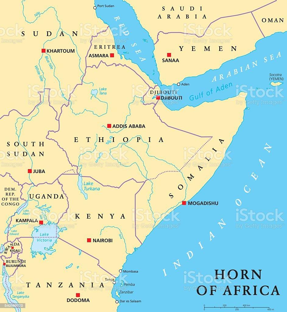 Horn of Africa Political Map vector art illustration