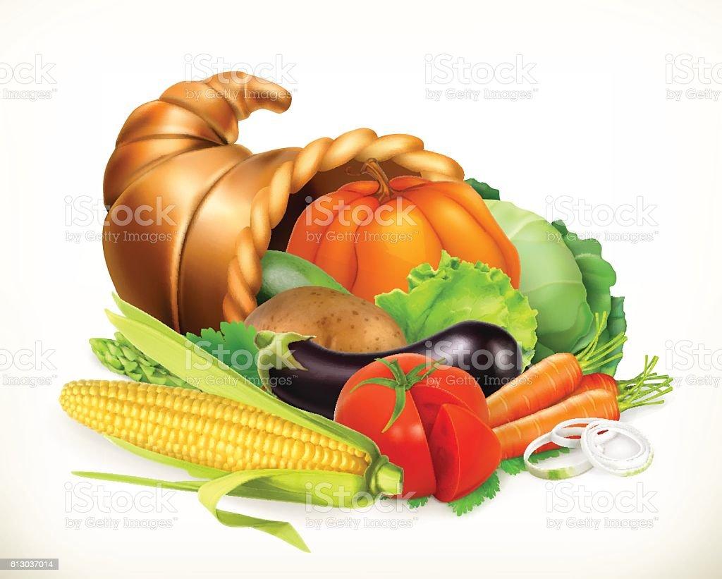 Horn of plenty. Harvest vegetables. Cornucopia. 3d vector icon vector art illustration