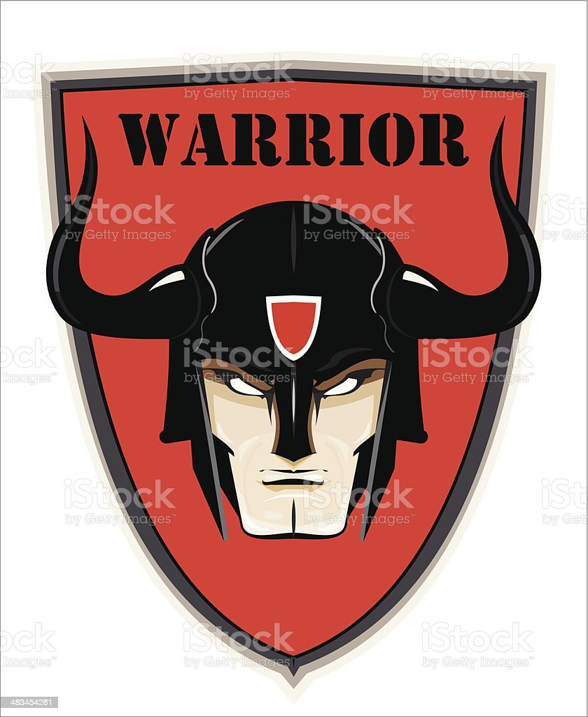 Horned Warrior Head over the Red Shield royalty-free stock vector art