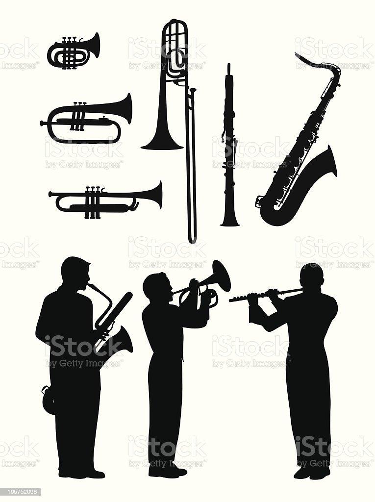 Horns'n Flute Vector Silhouette royalty-free stock vector art