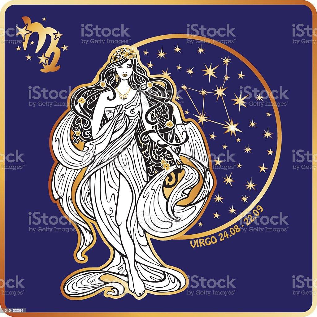 Horoscope. Virgo zodiac sign vector art illustration