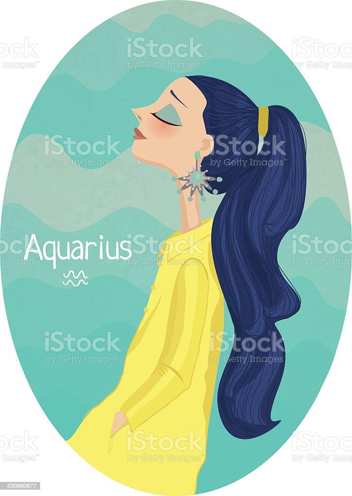 Horoscope. Zodiac signs-Aquarius vector art illustration