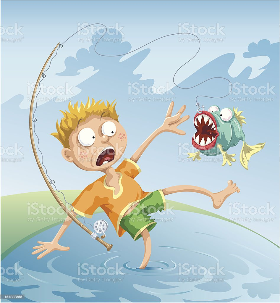 Horrible Fishing Accident royalty-free stock vector art
