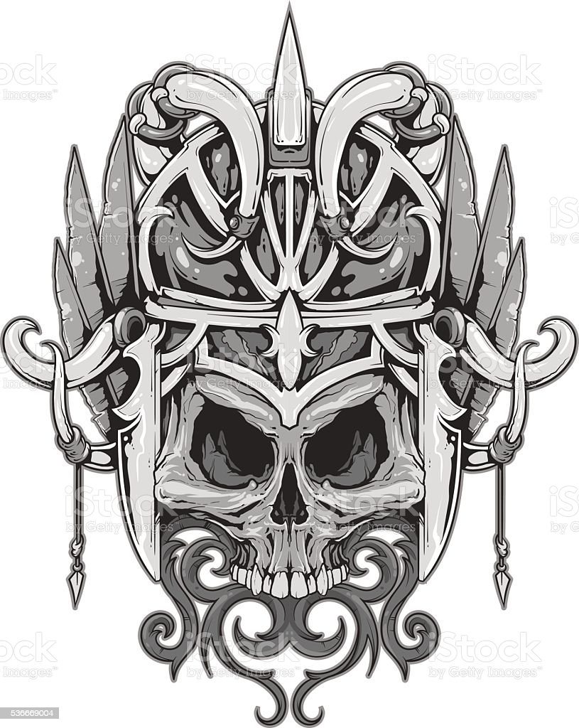 Horrible mask with skull and feathers vector art illustration