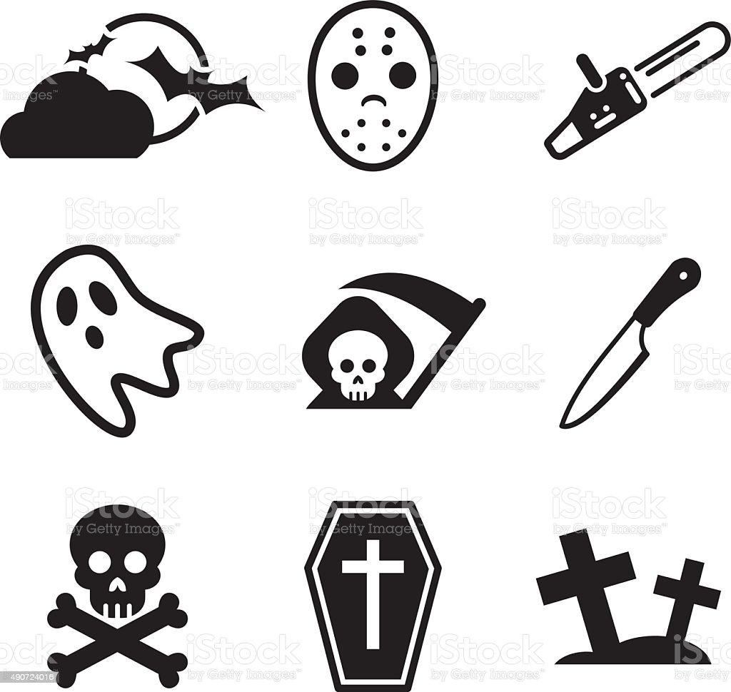 Horror Icons vector art illustration