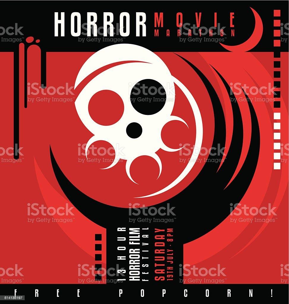 Horror movie marathon or film festival poster design vector art illustration