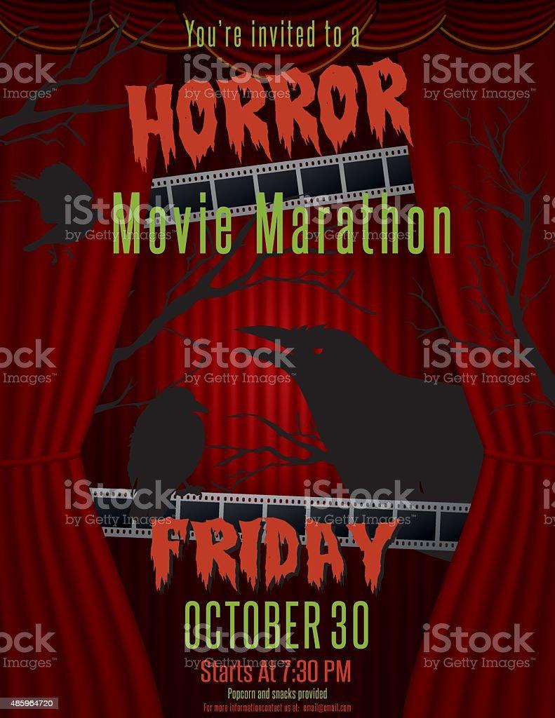 Horror Movie Marathon Party Invitation Template vector art illustration