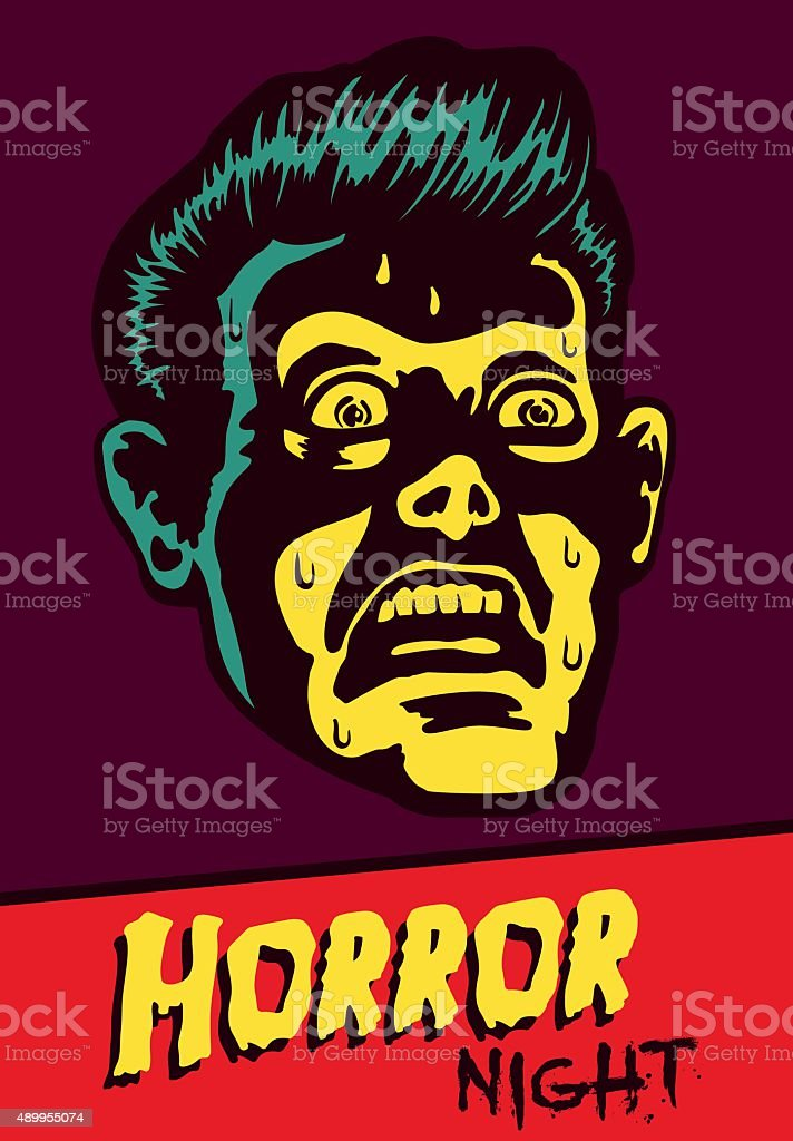 Horror Night! Halloween party or movie night event flyer design vector art illustration