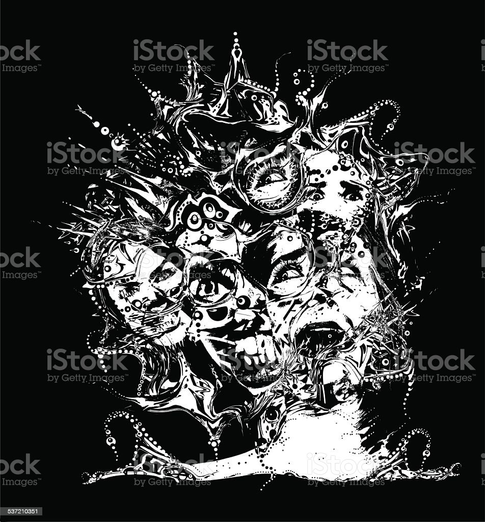 Horror Tree. Terrified Women vector art illustration