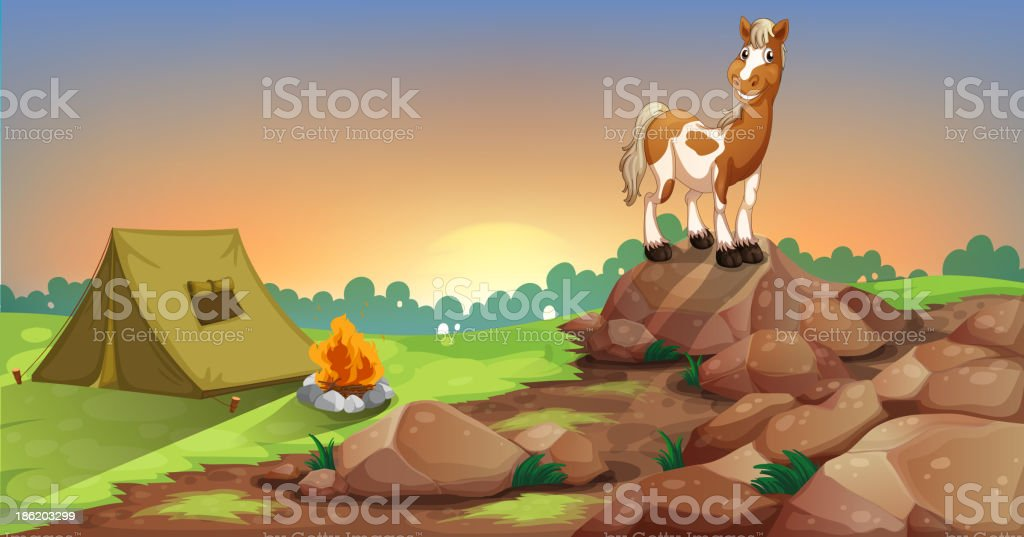 horse above rock near a camping tent royalty-free stock vector art