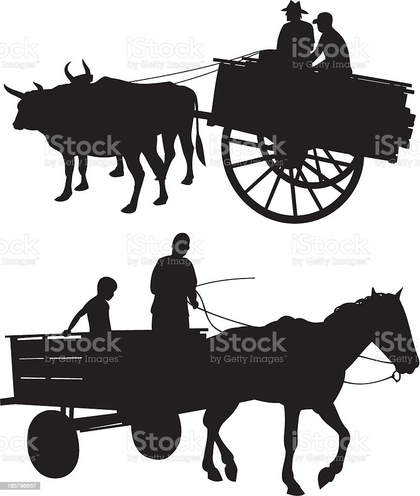 Horse & Ox with Cart vector art illustration