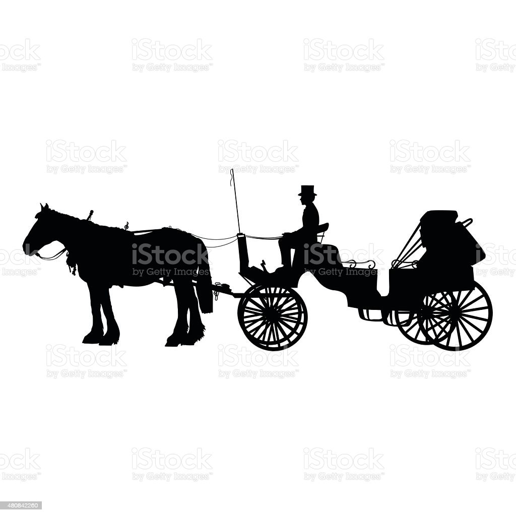 Horse and Buggy vector art illustration