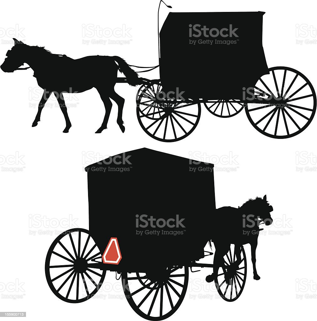 Horse and Carriage vector art illustration