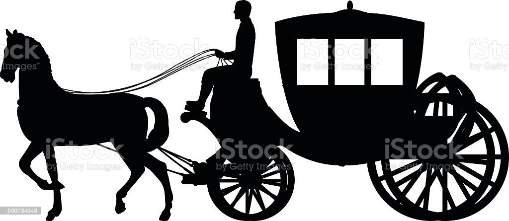 Horse and Cart vector art illustration