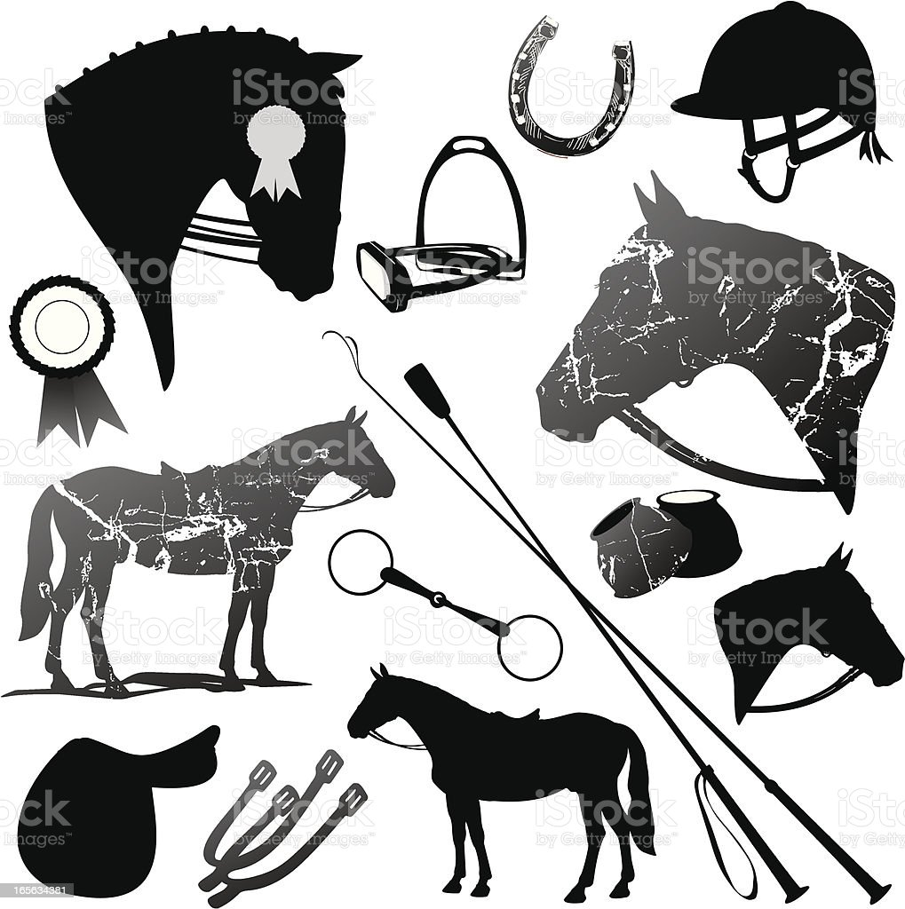 Horse And English Riding Black Silhouettes Set vector art illustration