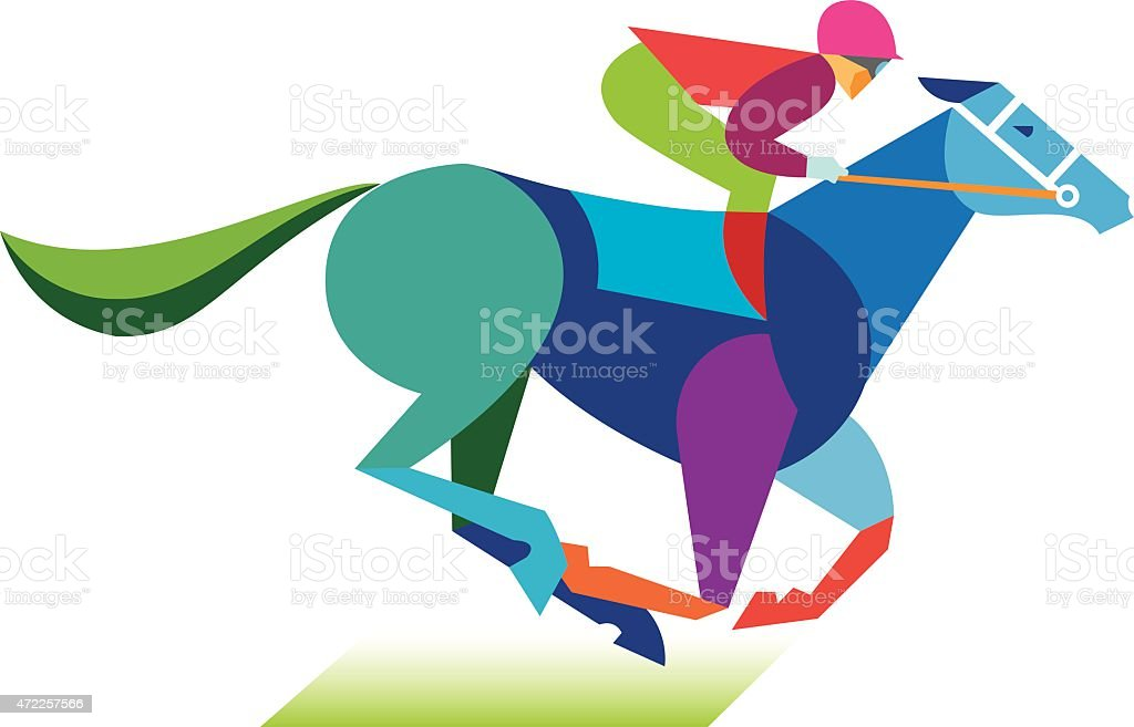 Horse and jockey graphic display vector art illustration