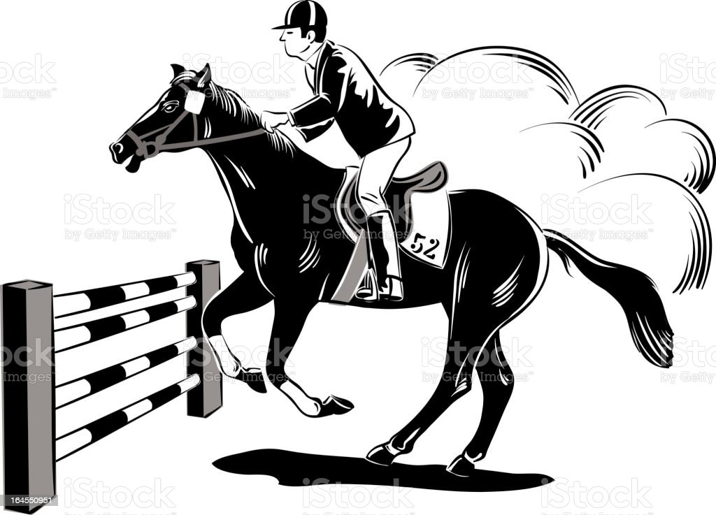 Horse and obstacle race royalty-free stock vector art