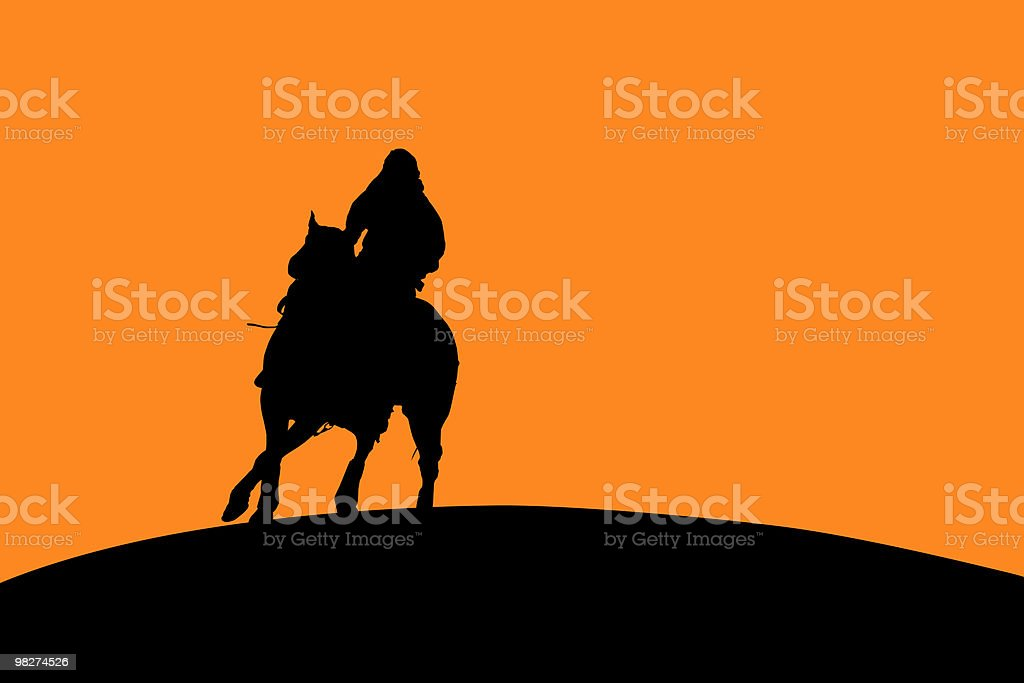 Horse and Rider Silhouette royalty-free stock vector art