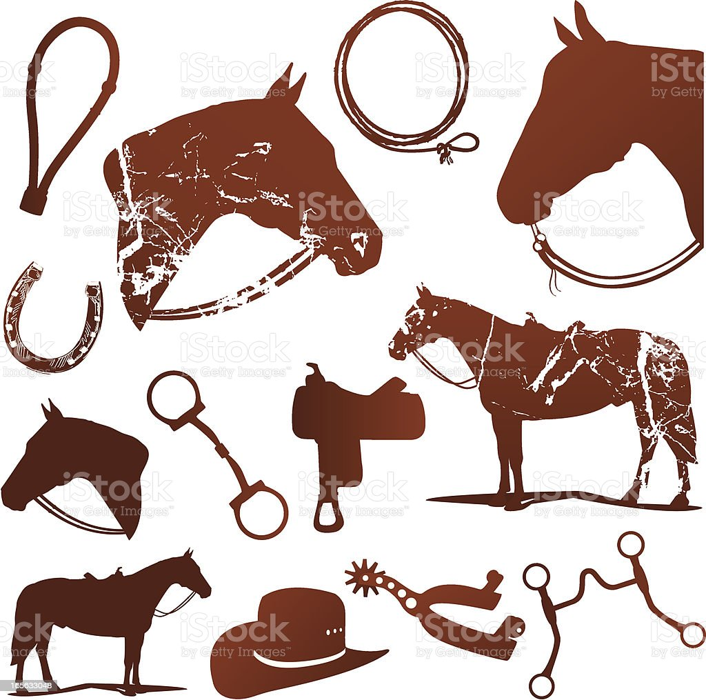 Horse And Western Riding Silhouettes Set vector art illustration
