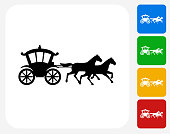 Horse Carriage Icon Flat Graphic Design