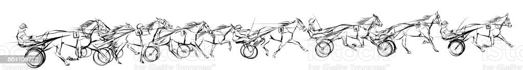 Horse carriage racing vector art illustration